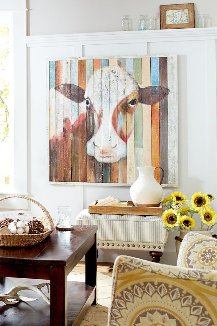 Why wait for the cows to come home when they're already here? Hand-painted on pine to give you that made-from-pallets look, she'll be the belle of your wall—without the splinters.