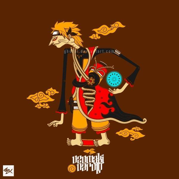 Naruto wayang by Manzur Ghozaali (ghozai),seni digital,ilustrasi