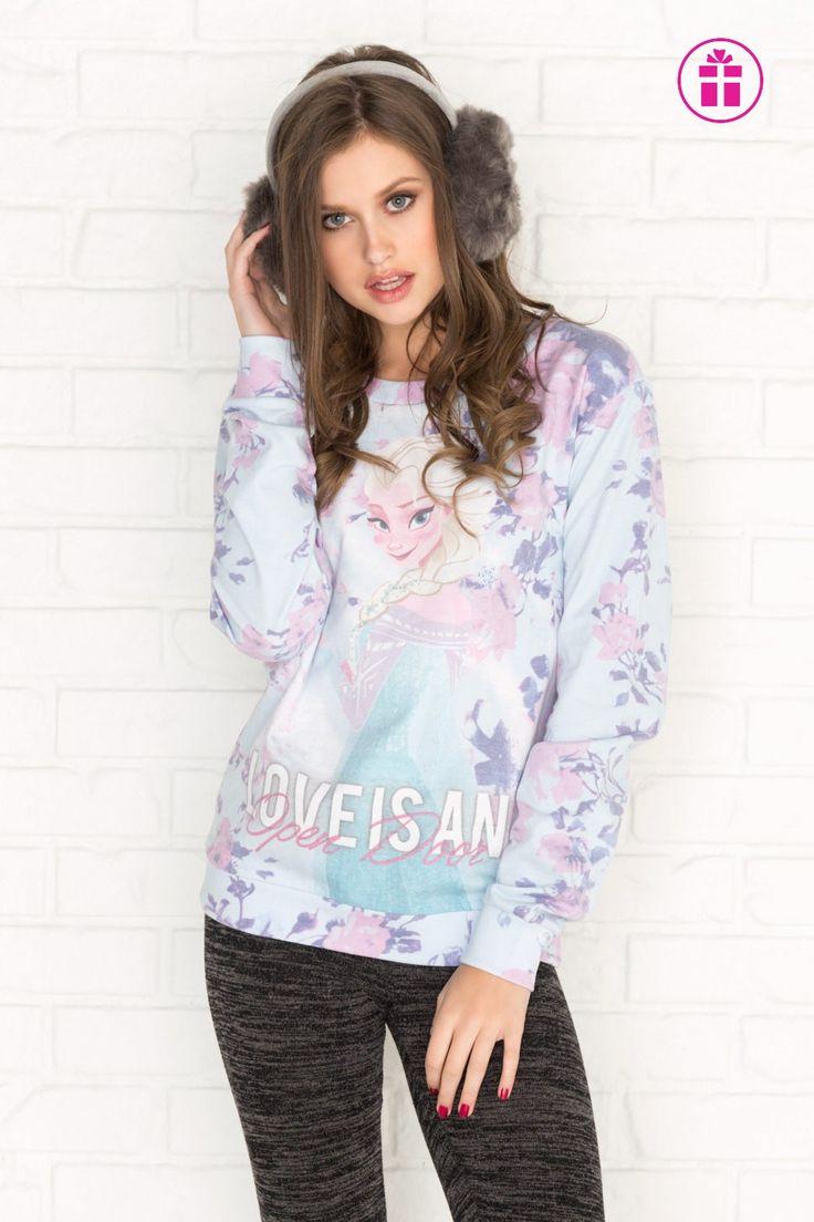 Pastel blue floral Frozen sweatshirt