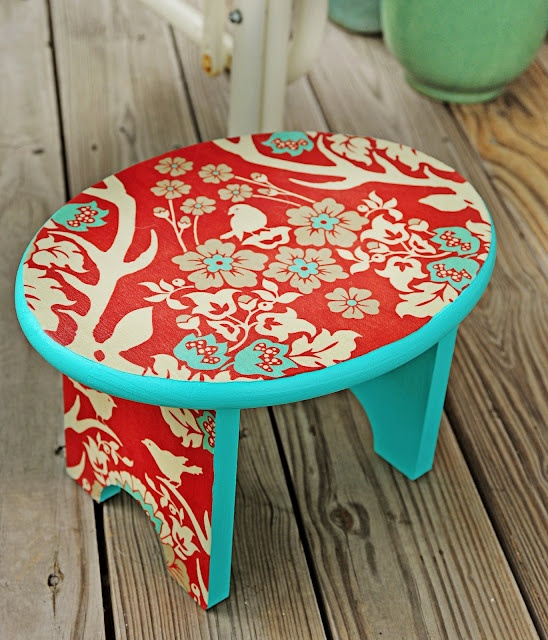 Missoni Fabric Covered Bergere Chair: DIY Step Stool Makeover With Mod Podge
