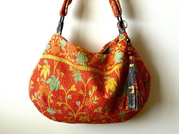 vintage kantha quilt bag / ethnic tote. $65.00, via Etsy.