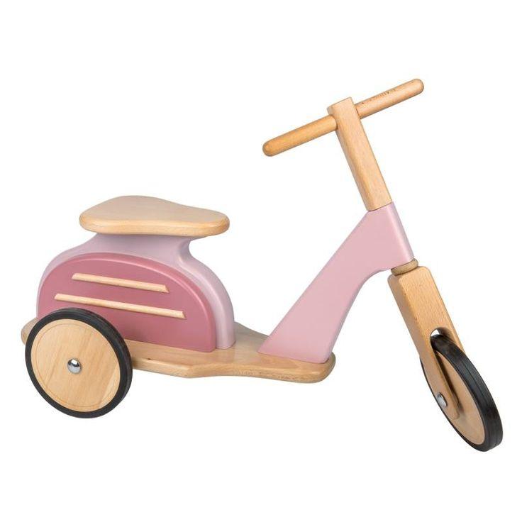 Roze houten scooter Vespa   Speelgoed Kiki