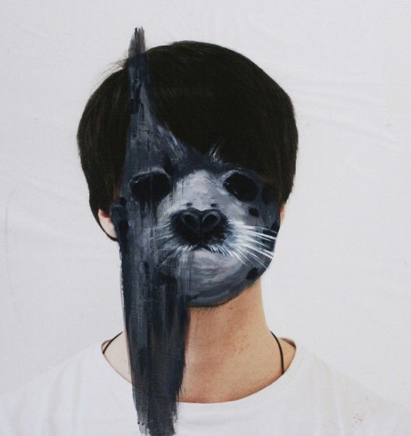 Charlotte Caron's Painted Portraits: Try this yourself over your own photograph. To make a self-portrait you could choose an animal that represents your personality!