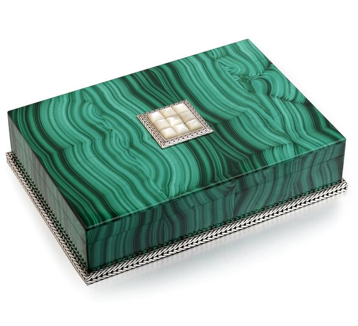 Luxe Designer Malachite & Silver Jewelry Box, So Glamorous   Inspiring Interior Design Fans With Unique Luxury Hollywood Home Decor & Gift Ideas From InStyle-Decor.com Beverly Hills Enjoy & Happy Pinning