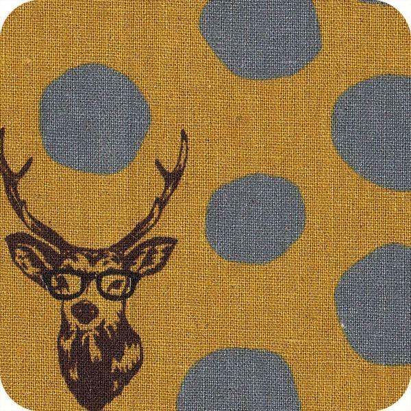 Tissu Kokka - Cerf à lunette moutarde