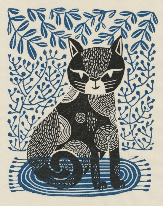 pattern, linocut, print pattern design, linocut, cat, cat linocut, cat relief print, printmaking, printmaker, illustration