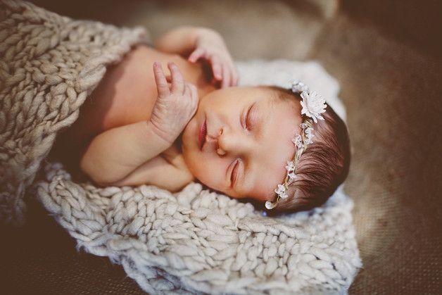 Diademas - Corona de flores de la cabeza para recién nacido - hecho a mano  en DaWanda.es