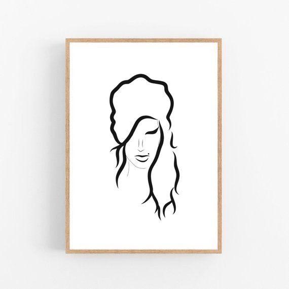 Amy Winehouse Line Art Amy Winehouse Abstract Wall Decor Etsy Line Art Minimalist Art Art