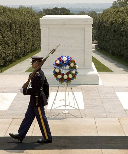 Washington, D.C.'s Top 10 : Arlington National Cemetery - Tomb of the Unknowns    This solemn monument is guarded 24 hours a day by The Old Guard. Unknown soldiers of World Wars I and II and the Korean War are entombed here. A Vietnam soldier was interred here, but he was later identified.