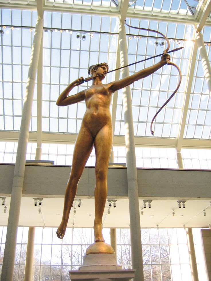 Diana (1892 - 93), Augustus Saint-Gaudens. Bronze, Metropolitan Museum of Art, New York City  CHARIOT & DEER OF ARTEMIS