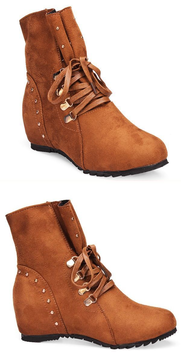 Women Faux Suede Height Increasing Lace Up Cowboy Ankle Boots Logo