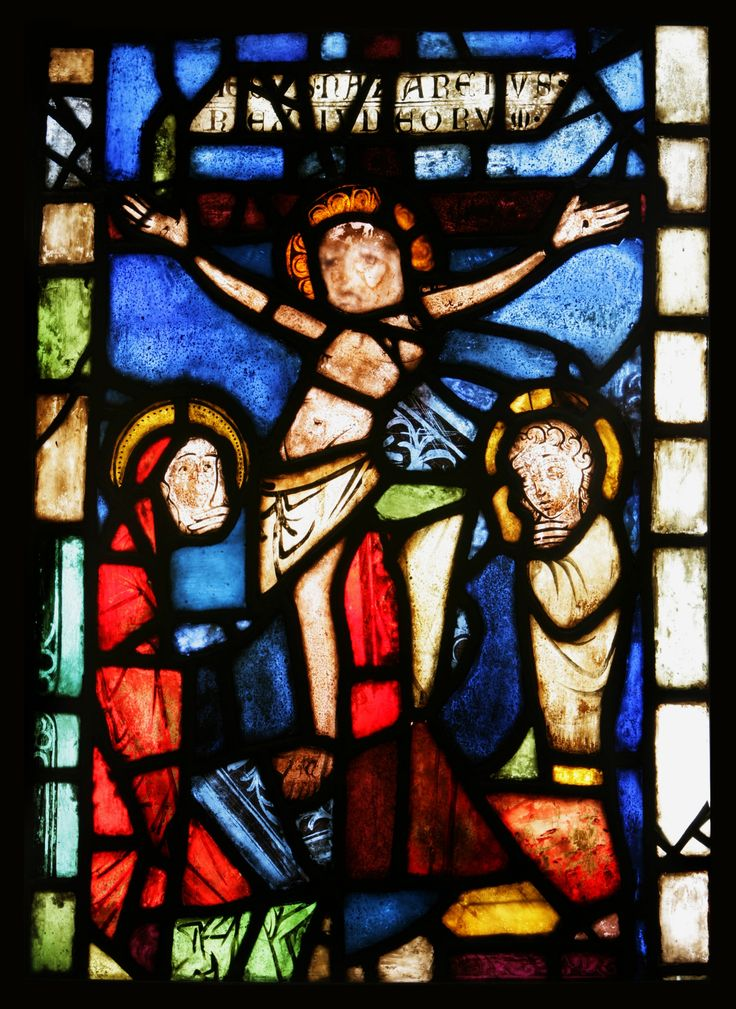 Stained glass with Crucifixion by Anonymous from Lesser Poland, end of the 13th century (PD-art/old), Muzeum Sztuk Użytkowych w Poznaniu