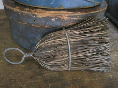 Old WHISK BROOM with a Wire Handle Metal Wrapped Bristles