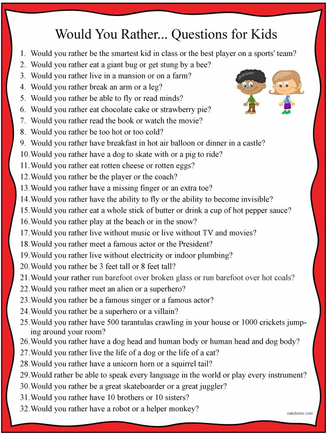 32 Would You Rather... Clean Questions List for Kids