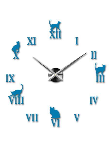 3D lepící nástěnné hodiny - Černá kočka Kód:  12S020-RAL5015-S-COLOR** Vyber si barvu podle sebe! Přišel čas zútulnit si své bydlení novými hodinami. Velké nástěnné 3D hodiny jsou krásnou dekorací Vašeho interiéru. Už nikdy nebudete opozdí.