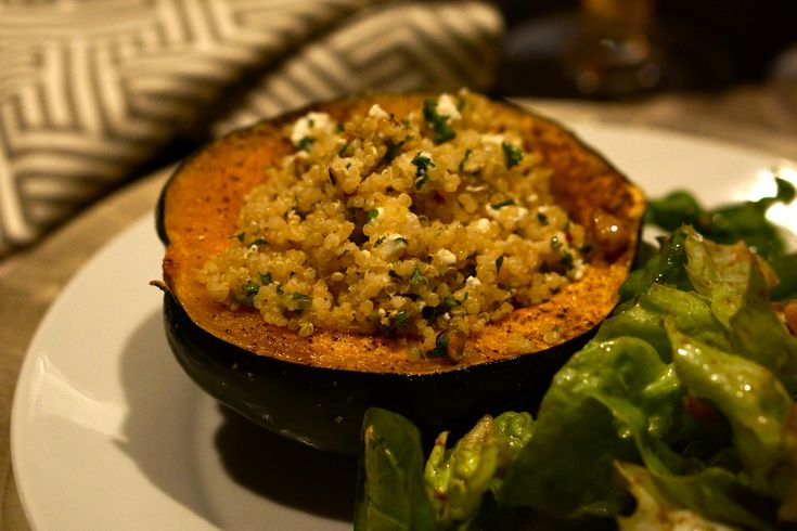 Stuffed Acorn Squash with Quinoa and Pistachios I was given this recipe by my trainer and nutritionist - Breanne Curran at the Magnuson Athletic Club - and served it the other night to my girlfrien...