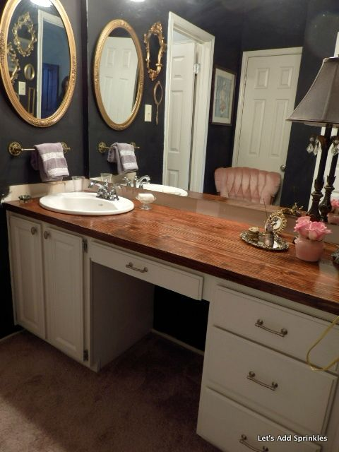 Wooden Bathroom Countertop--a DIY project with four coats of Helmsman Spar Urethane in a satin finish.