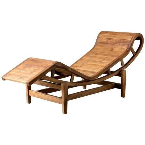 21st Century Lounger In Teak Wood After Le Corbusier Lc4 2 709 Liked On Polyvore Featuring Home Ou Teak Lounge Chair Pallet Furniture Outdoor Teak Wood