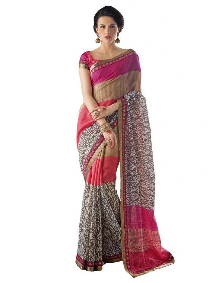 Inddus Exclusive Women Beautiful Pink Tussar Silk Printed Saree: Amazon : Clothing & Accessories  http://www.amazon.in/gp/product/B00PK4ZFK6/ref=as_li_tl?ie=UTF8&camp=3626&creative=24822&creativeASIN=B00PK4ZFK6&linkCode=as2&tag=onlishopind05-21  #TussarSilkSarees