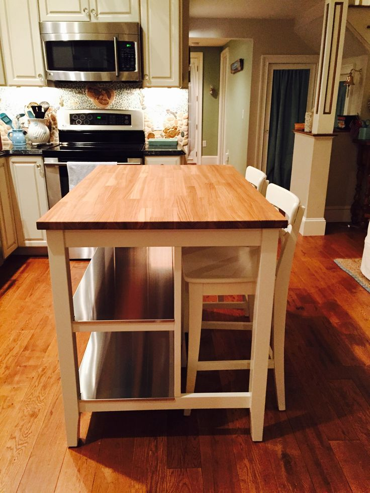 We added some more workspace to our little kitchen with this ikea island (stenstorp ...