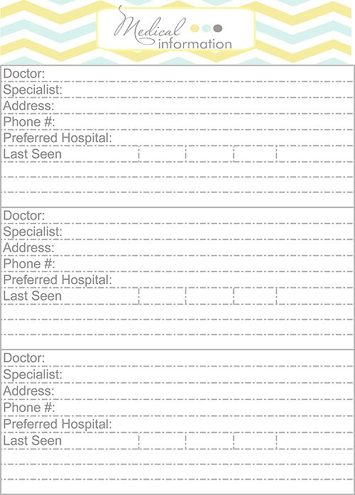 medical and prescription info home binder printables - Medical Information Specialist