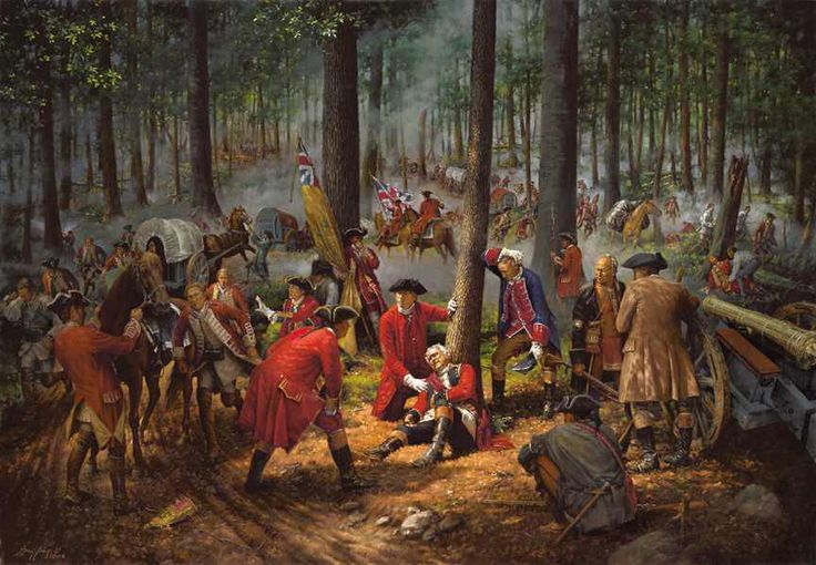 The Wounding of General Braddock by Robert Griffing (ca. 2005). Part of the showdown in the Ohio Valley during the outbreak of the Seven Years' War. #cdnhistory #americanhistory #europeanhistory