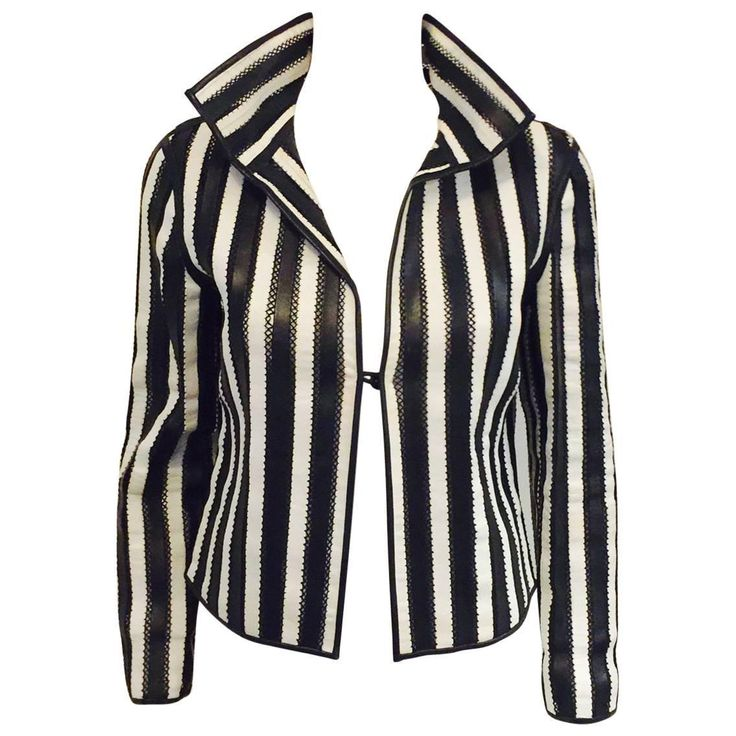 Giorgio Armani Black and White Vertictal Banded Lambskin Jacket   | From a collection of rare vintage jackets at https://www.1stdibs.com/fashion/clothing/jackets/
