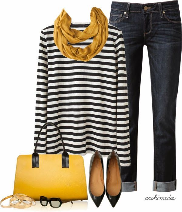 Casual Outfit. Denim, black and white striped tee, yellow scarf and bag.