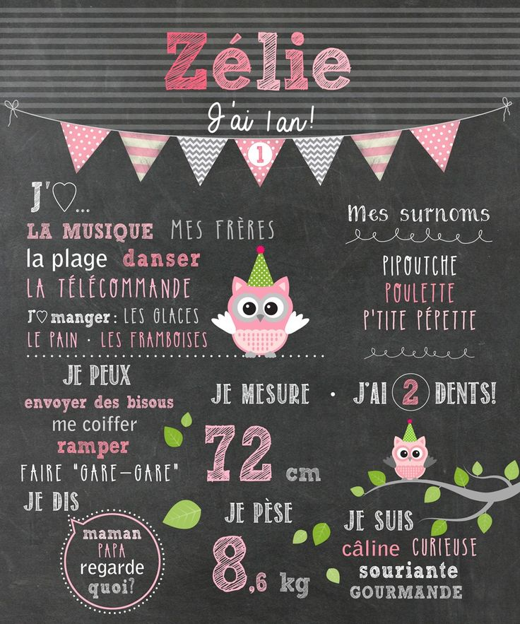 """Affiche personnalisée 1er anniversaire """"Hiboux roses et gris"""" - 20$ #chalkboard"""