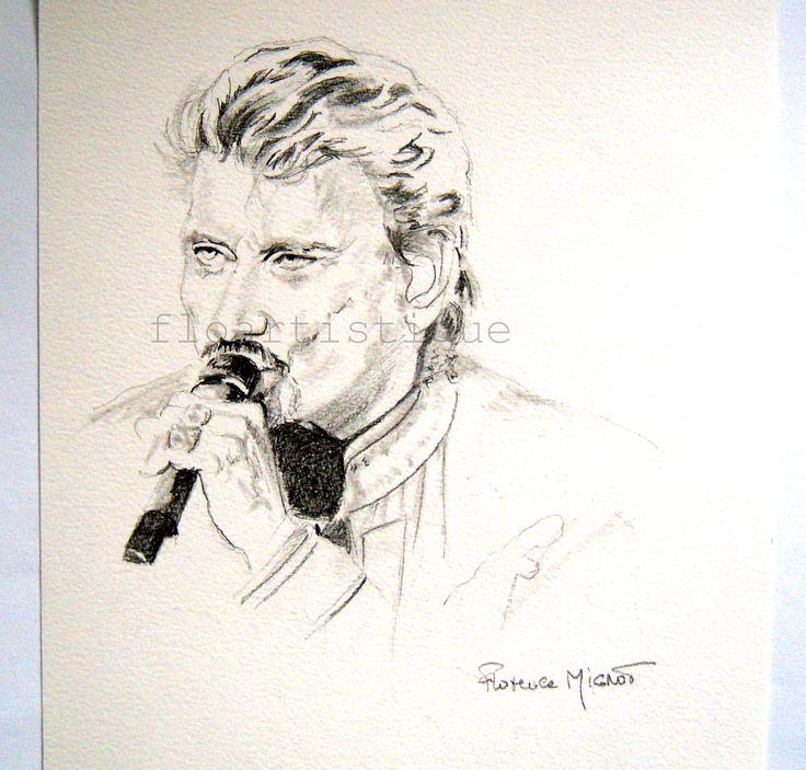 Portrait fusain Johnny HALLIDAY, souvenir d'un artiste hors du commun