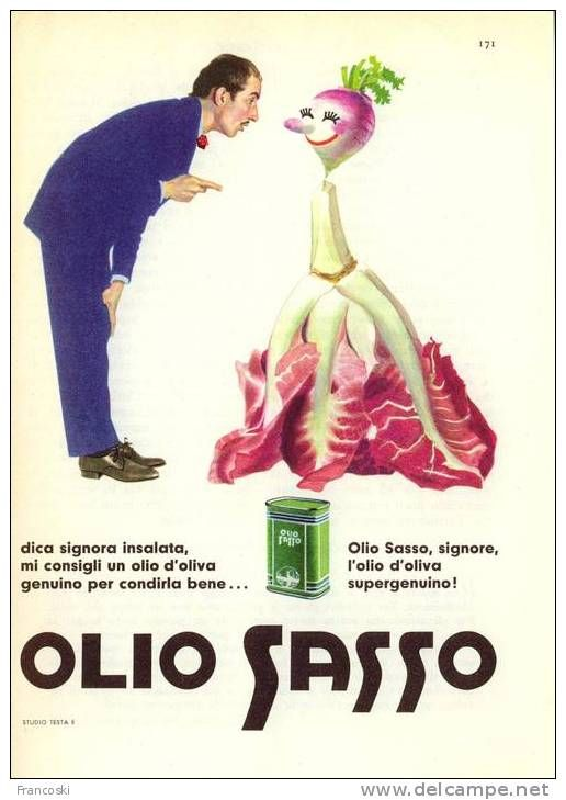 """Pubblicità """"Olio Sasso"""" Design Testa-1960´-Page Magazine Advert-"""