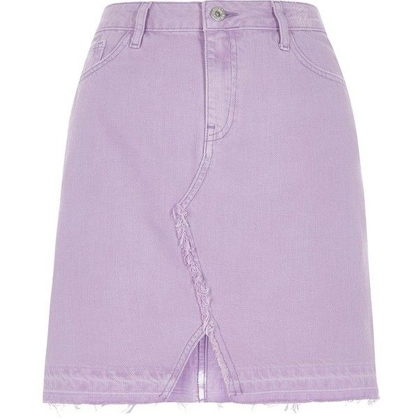 River Island Light purple released hem denim mini skirt ($36) ❤ liked on Polyvore featuring skirts, mini skirts, holiday shop, purple, sale, women, purple high waisted skirt, purple mini skirt, high-waist skirt and short skirts