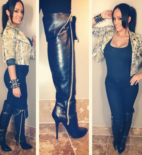 InstHerGlam: Evelyn Lozada In Giuseppe Zanotti Over-The-Knee Boots