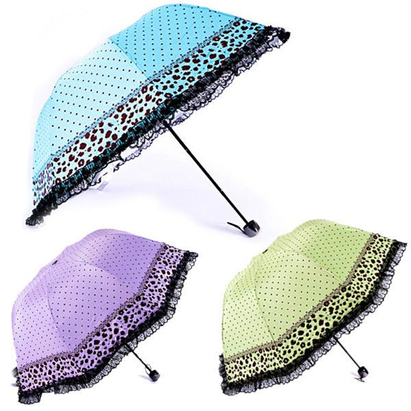 Clear Parasol Folding Women's Lacy New Umbrella Polka Dot Dome Umbrella Anti-uv #Unbranded #CompactFolding