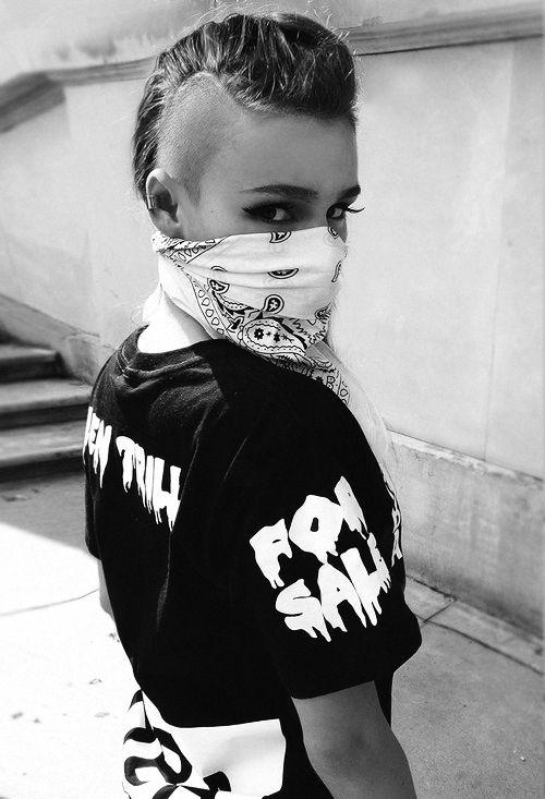 Been Trill Hood By Air HBA Tshirt Female Girl Fashion Urban Swag Style Black White Bandana Shaved Hair Style Side Head