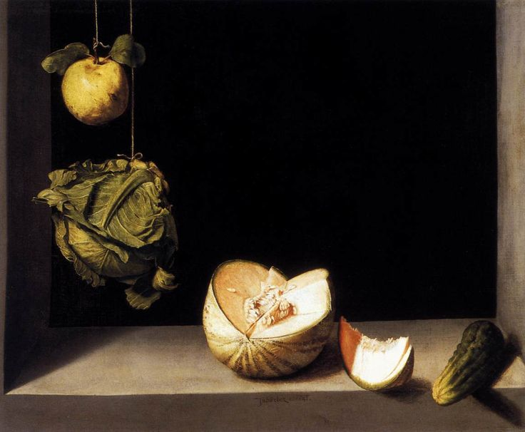 SANCHEZ COTÁN, Juan Still-life with Quince, Cabbage, Melon and Cucumber c. 1600 Oil on canvas, 69 x 85 cm Museum of Art, San Diego