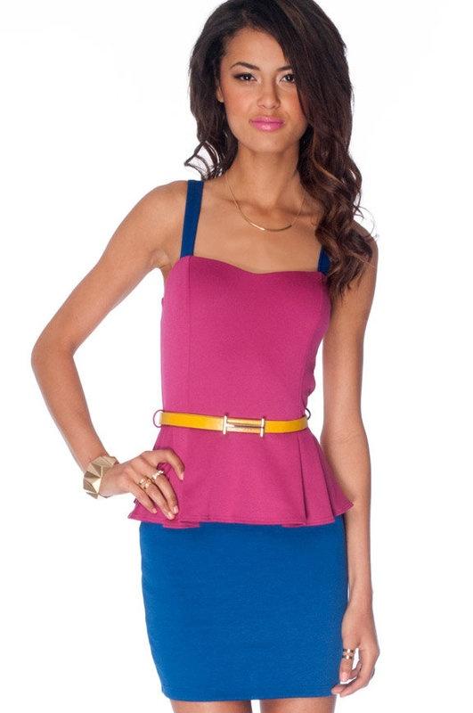 Blocked Peplum Dress