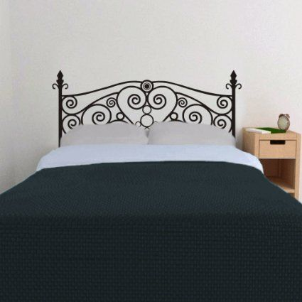 Wrought iron headboard wall decal heart wall sticker for Mural headboard