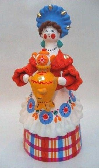 A Lady with a Samovar. It's a Dymkovo toy – a hand-painted clay toy from the Russian village of Dymkovo. #folk #art #Russian #toy