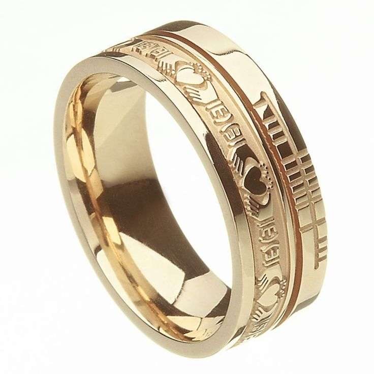 Comfort Fit Claddagh Faith Yellow Gold Band - Rings from Ireland