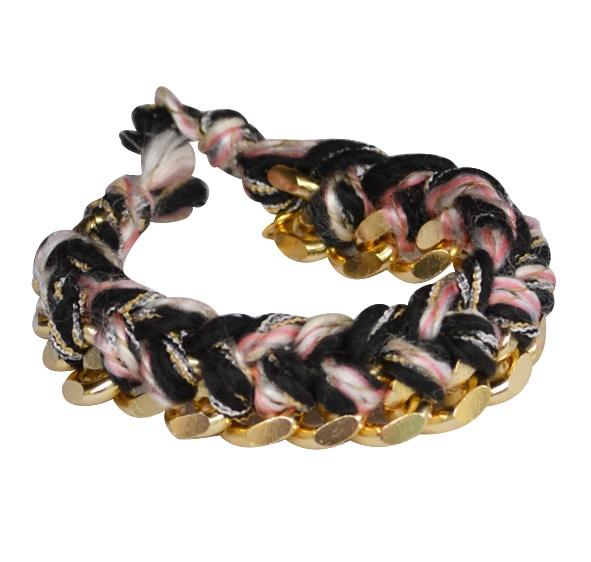 "Bracelete ""Rock"" in black-pink    Faux Bracelet, with gold color Chain & black-pink thread."