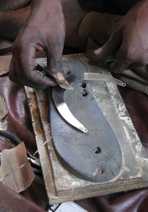 Nothing goes to waste — here a broken flipflop becomes a polishing surface. http://www.blogtalkradio.com/whaleystudios/2015/03/12/metalsmith-benchtalk-with-jeweler-silversmith-and-author-matthieu-cheminee