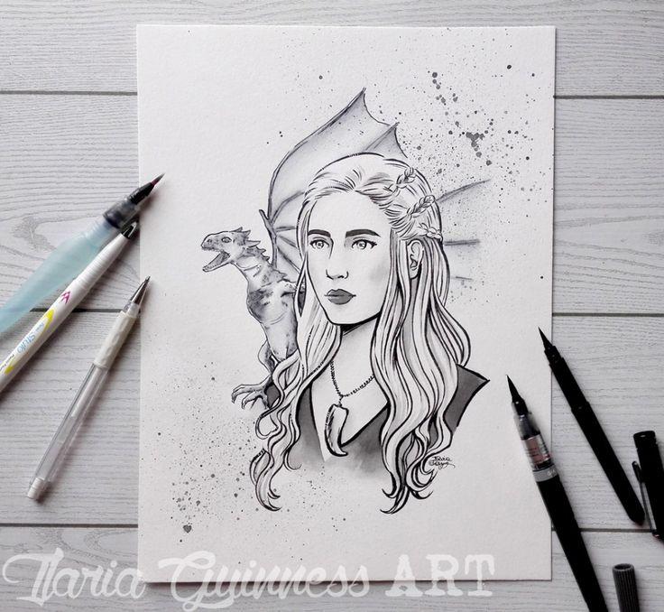 Illustrazione: fan art di Daenerys Targaryen. Nel post è spiegato come ho realizzato il disegno e che materiali ho usato.