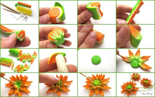 Picture tute: blended flower. #Polymer #Clay #Tutorials