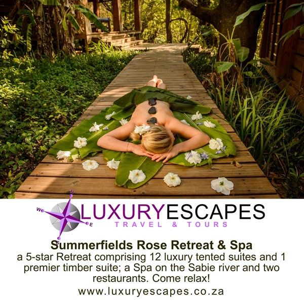 Introducing Summerfields Rose Retreat & Spa a 5-star Retreat comprising 12 luxury tented suites and 1 premier timber suite; a Spa on the Sabie river and two restaurants. Come relax! www.luxuryescapes.co.za