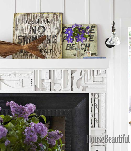 salvaged wood fireplace mantel