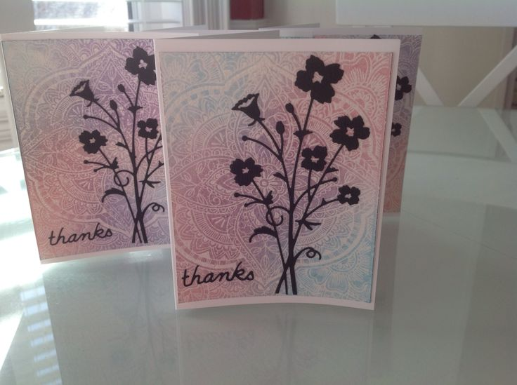 Die cut card set using Hero Arts background stamp and distress inks