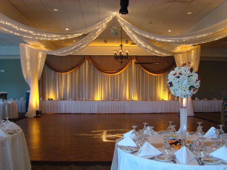 drapery, canopy w/lights, centerpieces, lighting by  www.EventsPlusNashville.com