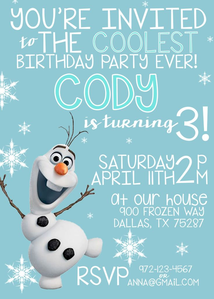 OLAF BIRTHDAY INVITATION, Frozen Birthday Invitation Printable, Birthday Invitations, Boy Birthday, Girl Birthday, Olaf Invitation by LitlenEvents on Etsy https://www.etsy.com/listing/229587874/olaf-birthday-invitation-frozen-birthday