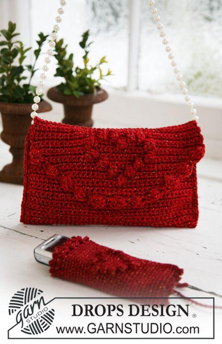 """Bolsa DROPS em croché com bolsinha para telemóvel/celular para o Natal em """"Cotton Viscose"""" e """"Glitter"""". ~ DROPS Design"""